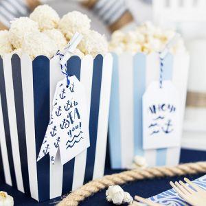 Popcorn bekers blauw gestreept (6st)