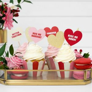 Cupcake prikkers hartjes goud (6st) Sweet Love Collectie