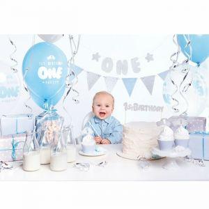 Feestpakket eerste verjaardag blauw-zilver