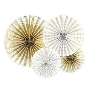 Paper Fans wit-goud (4st) Golden Grid