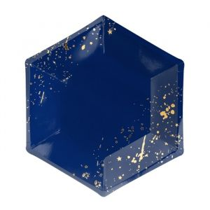 Gebaksbordjes Splashes donkerblauw-goud (6st) Golden Grid