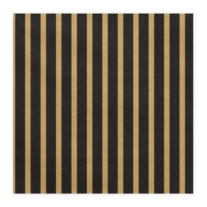 Servetten Stripes (20st) Black & Gold