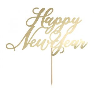 Taarttopper Happy New Year Black & Gold