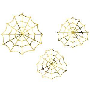 Decoratie papieren spinnenweb goud (3st)