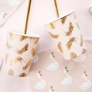 Bekertjes gouden veertjes (6st) Lovely Swan