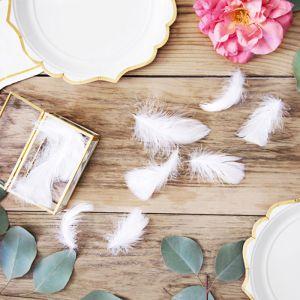 Tafeldecoratie veren wit