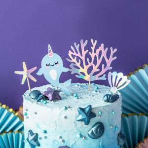 Caketoppers pastel holografisch (4st) Narwhal