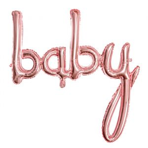 Folieballon script Baby roségoud (73cm)