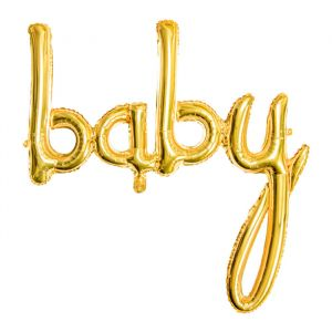Folieballon script Baby goud (73cm)
