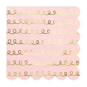 Servetten roze met goud patroon (20st)