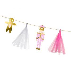 Slinger kerst roze en goud