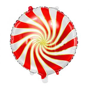 Folieballon Candy rood-wit-goud