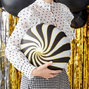Folieballon Candy zwart-wit-goud