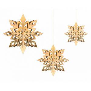 Hangdecoratie Snowflakes goud (6st)