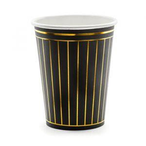 Bekertjes Stripes zwart (6st)
