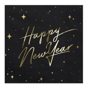 Servetten Happy New Year zwart (20st) Stars