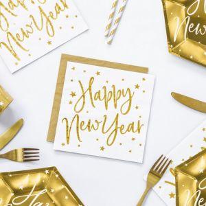 Servetten Happy New Year wit (20st) Stars