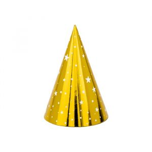 Feesthoedjes goud (6st) Stars