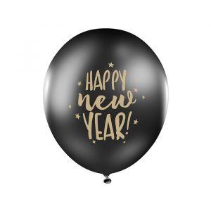 Ballonnen Happy New Year zwart (6st) Stars