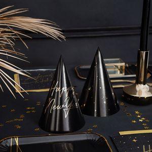 Feesthoedjes Happy New Year zwart-goud (6st)