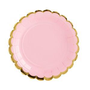 Borden roze met gouden rand (6st)