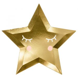 Borden gouden ster (6st) Hello Baby