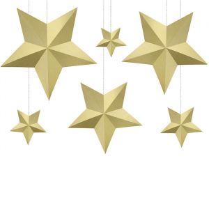 Decoratie sterren goud (6st)