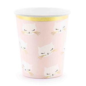 Bekertjes Kat roze-goud (6st) Cat Collection