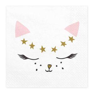 Servetten Kat roze-goud (6st) Cat Collection