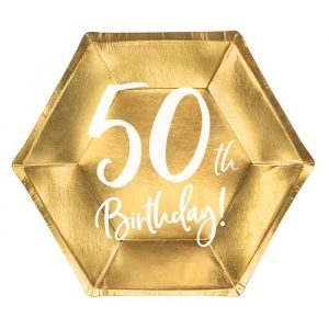 Borden 50th Birthday goud (6st)
