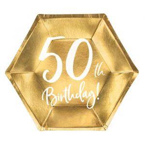 Borden 50th Birthday goud (6st)