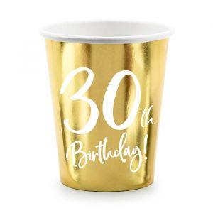 Bekertjes 30th Birthday goud (6st)