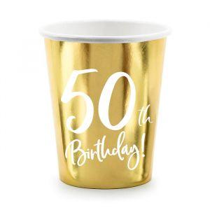 Bekertjes 50th Birthday goud (6st)