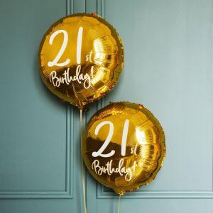 Folieballon 21st Birthday goud (45cm)
