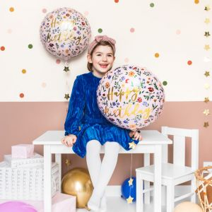 Folieballon Happy Birthday Flowers (35cm)