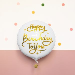 Folieballon Happy Birhday To You wit/goud (35cm)