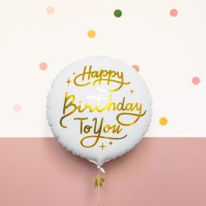 Folieballon Happy Birhday To You wit/goud (35cm)