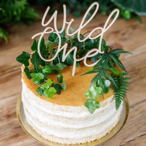 Houten taarttopper Wild One
