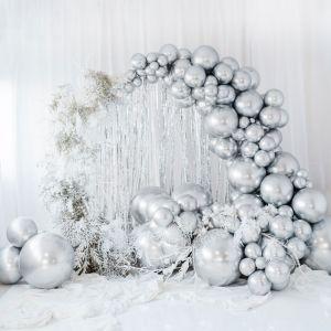 Mega ballon Glossy zilver (60cm)