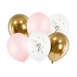 Ballonnenmix One pastel roze (6st)