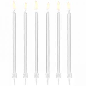 Lange kaarsen wit (12st)