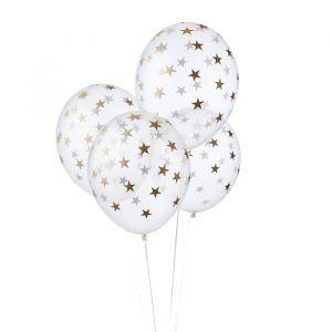 Transparante ballonnen met sterren goud (6st)