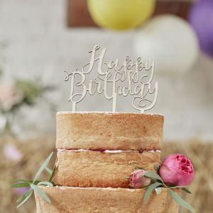 Houten Taarttopper Happy Birthday Ginger Ray