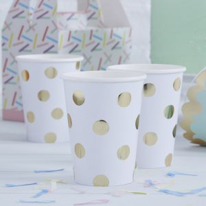 Bekertjes dots goud Pick & Mix (8st) Ginger Ray