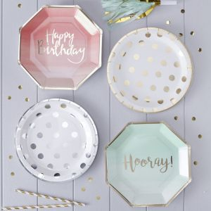 Hooray bordjes ombre Mint - Goud (8st) Pick & Mix Ginger Ray