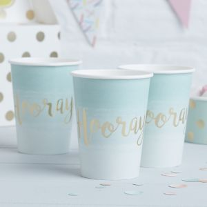 Hooray bekertjes ombre Mint - Goud (8st) Pick & Mix Ginger Ray