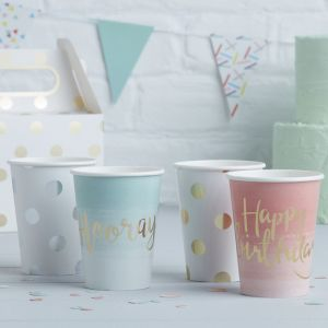 Hooray bekertjes ombre Mint-Goud (8st) Pick & Mix Ginger Ray