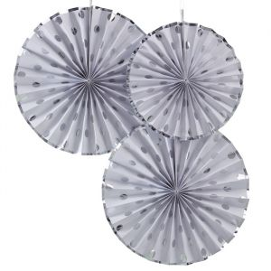 Paper fans dots Wit - Zilver Pick & Mix (3st) Ginger Ray
