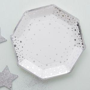 Papieren bordjes Stars Zilver (8st) Ginger Ray