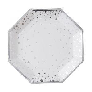 Papieren bordjes Stars Zilver (8st) Silver Metallic Star